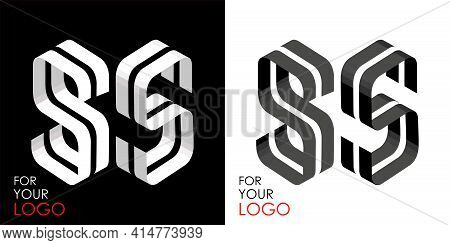 Isometric Letter S In Two Perspectives. From Stripes, Lines. Template For Creating Logos, Emblems, M
