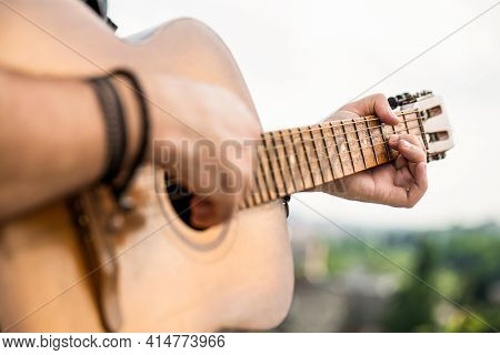 Guitars Acoustic. Live Music. Music Festival. Male Musician Playing Guitar, Music Instrument. Mans H