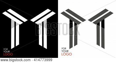 Isometric Letter T In Two Perspectives. From Stripes, Lines. Template For Creating Logos, Emblems, M
