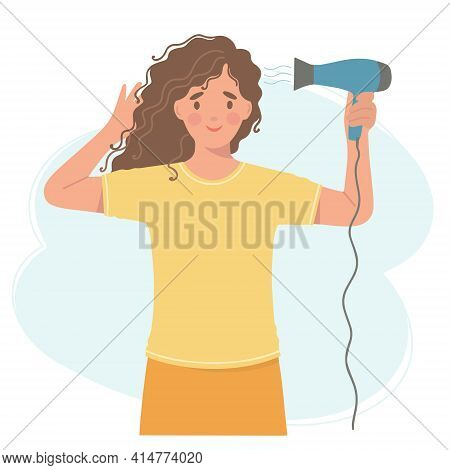 Girl Dries Her Hair With A Hair Dryer. Vector Illustration Of A Beautiful Curly-haired Girl With A H