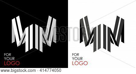 Isometric Letter M In Two Perspectives. From Stripes, Lines. Template For Creating Logos, Emblems, M