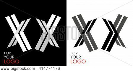 Isometric Letter X In Two Perspectives. From Stripes, Lines. Template For Creating Logos, Emblems, M