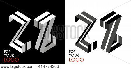 Isometric Letter Z In Two Perspectives. From Stripes, Lines. Template For Creating Logos, Emblems, M