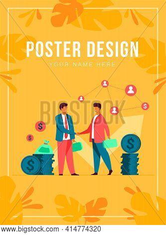 Two Business Partners Handshaking Flat Vector Illustration. Cartoon Businessmen Concluding Agreement