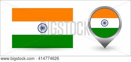 Vector Flag India. Location Point With Flag India Inside.
