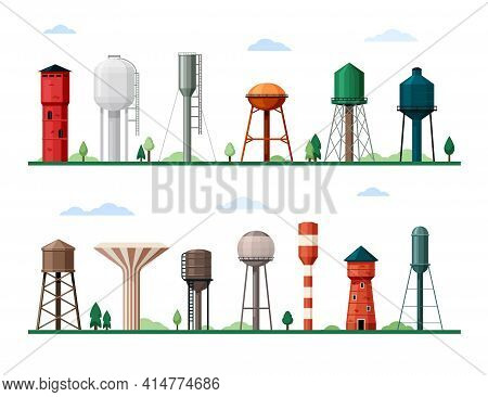 Retro And Modern Water Towers Set. Geometric Industrial Constructions Tanks For Storing Supplies Dri