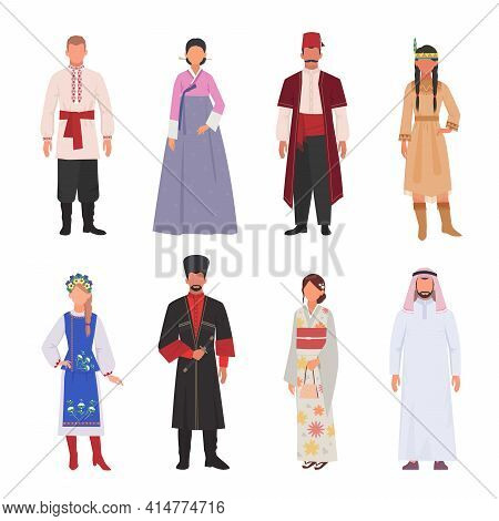 People Different Nationalities In Ethnic Clothes Set. Male And Female Avatar Characters In Japanese