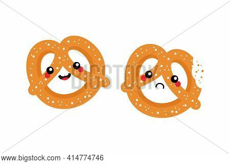 Couple Of Cartoon Style Pretzel, Knot-shaped Baked Pastry Characters Cute And Smiling And Sad With B