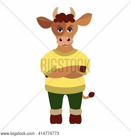 Vector Illustration Of Handsome Bull. Taurus Zodiac Sign.