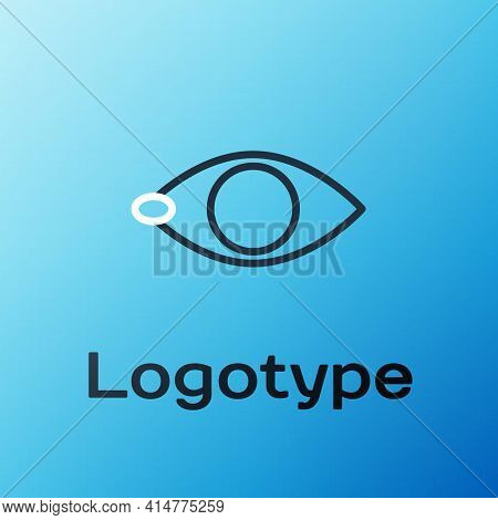 Line Blindness Icon Isolated On Blue Background. Blind Sign. Colorful Outline Concept. Vector