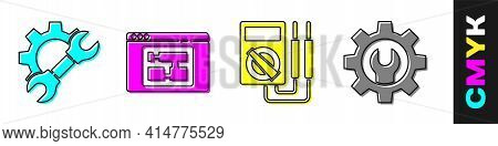 Set Wrench Spanner And Gear, House Plan, Multimeter And Wrench Spanner And Gear Icon. Vector