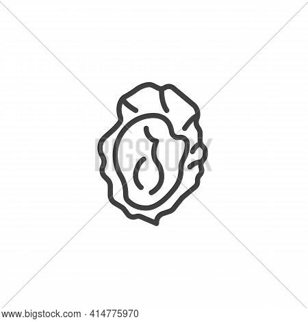 Fresh Oyster Line Icon. Linear Style Sign For Mobile Concept And Web Design. Oysters Seafood Outline