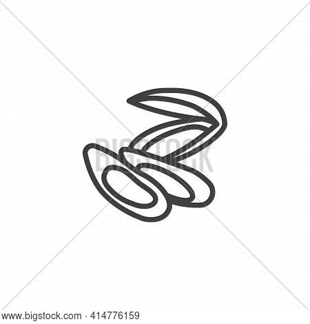 Mussels Seafood Line Icon. Linear Style Sign For Mobile Concept And Web Design. Mussels, Oysters Out