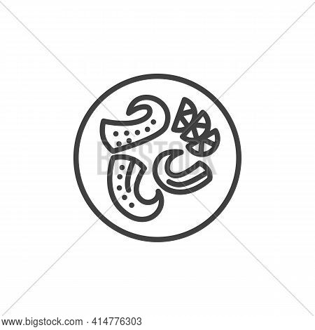 Octopus Tentacles With Lemon Line Icon. Linear Style Sign For Mobile Concept And Web Design. Octopus