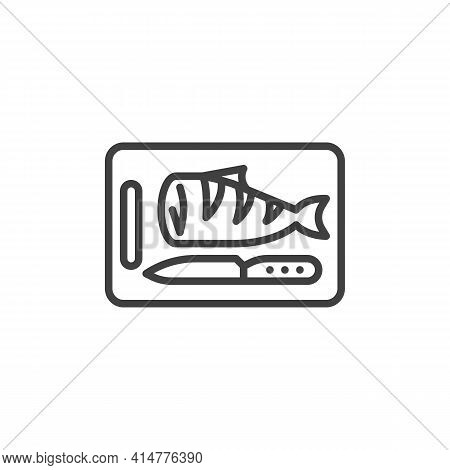 Cutting Fish Fillet Line Icon. Linear Style Sign For Mobile Concept And Web Design. Cutting Board Wi