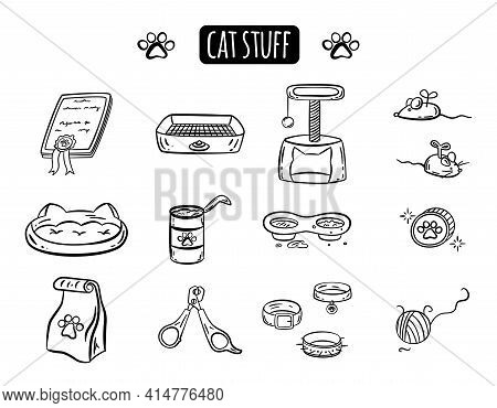 Cute Doodle Cat Stuff. Set Of Pet Accessories In A Hand-drawn Style. Black Vector Outline Silhouette