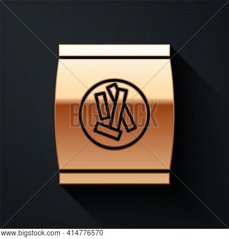 Gold Hard Bread Chucks Crackers Icon Isolated On Black Background. Long Shadow Style. Vector Illustr