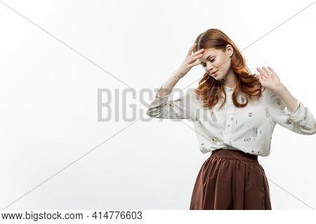 Pretty Woman Elegant Style In Suit Emotions Displeasure