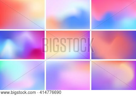 Abstract Multicolored Blurred Backgrounds. Blurred Backgrounds With Gradient Meshes. Multicolor Wall