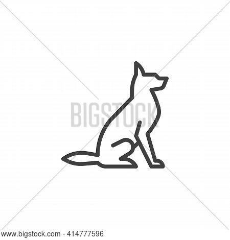 Dog Sitting Line Icon. Linear Style Sign For Mobile Concept And Web Design. Dog Pet Outline Vector I