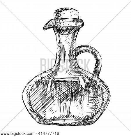Olive Oil Vintage Bottle In Pen Hand-drawn Style