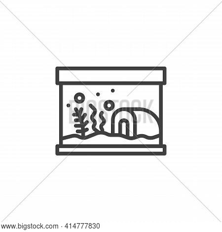 Aquarium With Seaweed Line Icon. Linear Style Sign For Mobile Concept And Web Design. Pet Shop Aquar