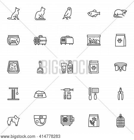 Pet Shop Line Icons Set. Linear Style Symbols Collection, Outline Signs Pack. Pet Accessories Vector