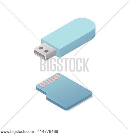Isometric Flash Memory Card. Vector Illustration. Electronic Data Storage Device. Isolated On White