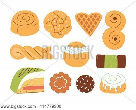 Traditional Swedish Sweets. Kanelbulle Bun, Cinnamon Roll, Pepparkakor, Semla, Lussekatt, Dammsugare