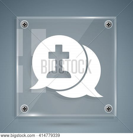 White Man Graves Funeral Sorrow Icon Isolated On Grey Background. The Emotion Of Grief, Sadness, Sor