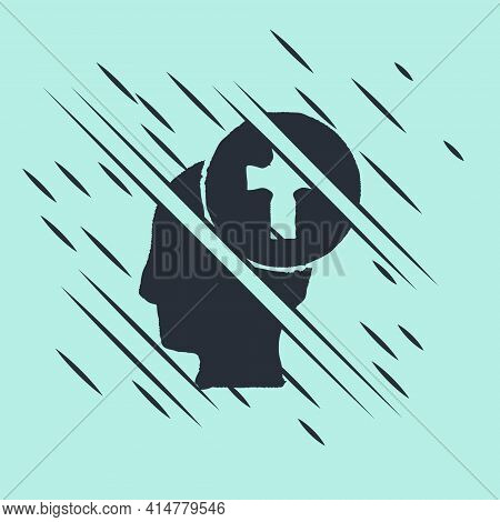 Black Man Graves Funeral Sorrow Icon Isolated On Green Background. The Emotion Of Grief, Sadness, So