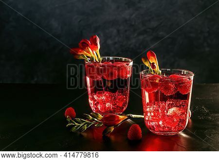 Summer Berry Mocktail Drink. Lemonade With Raspberry And Soda Water. Copy Space