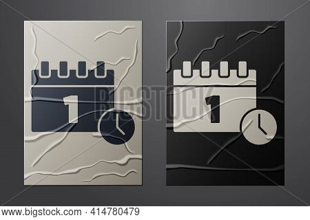 White Calendar With First September Date Icon Isolated On Crumpled Paper Background. September 1. Da