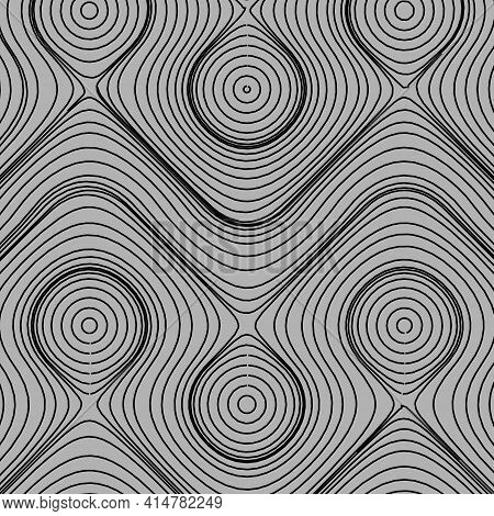 Optical Art, Vector Striped Background. Abstract Smooth Black Wave Curve Motion Lines Graphic. Flow