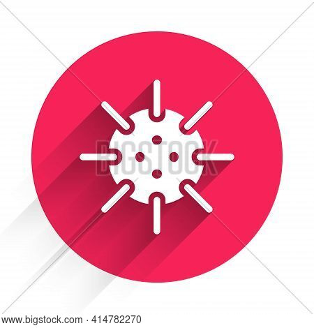 White Naval Mine Icon Isolated With Long Shadow. Sea Bomb. Red Circle Button. Vector