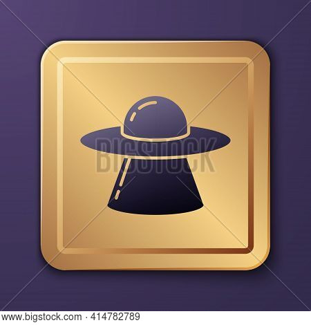 Purple Ufo Flying Spaceship Icon Isolated On Purple Background. Flying Saucer. Alien Space Ship. Fut