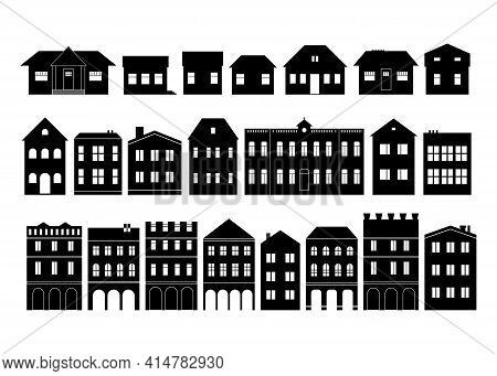 Black And White Silhouette Clipart Of Houses And Buildings In Small Town Street