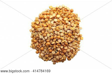Dry Split Yellow Peas Isolated On White Background. Pile Of Yellow Dried Peas. Top View.