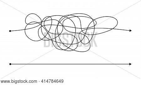 Simple Right And Complex Wrong Way With Messy Line. Black Lines With A Starting Point And An Arrow A