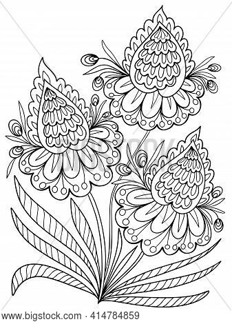 Floral Bouquet Coloring Plant Fantasy Graphic Vector Outline Illustration Isolated On White Backgrou