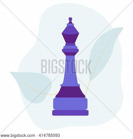 Chess Piece Bishop. Vector Flat Colorful Isolated Illustration. Abstract Blue Stain And Leaves On Ba