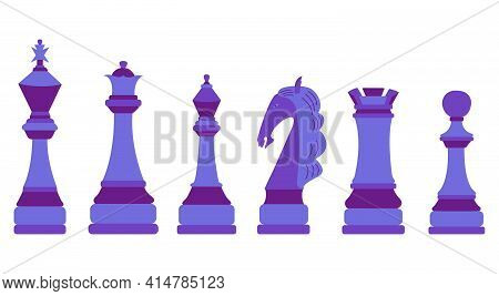 Chessmen. Vector Flat Colorful Isolated Illustration. Blue Color Figures. Set Of Chess Pieces