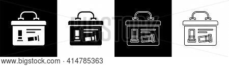 Set Military Ammunition Box With Some Ammo Bullets Icon Isolated On Black And White Background. Vect