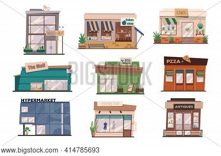 Restaurants Or Shops Facades Isolated Scenes Set. Building Of Office Centre, Mall, Pizzeria, Hyperma