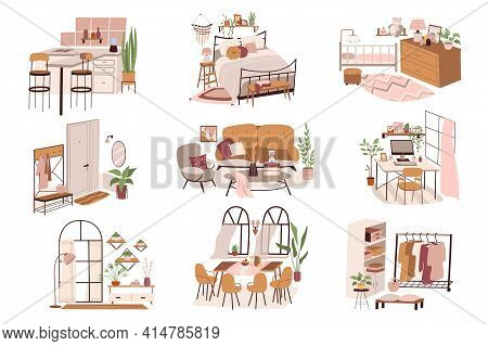 Different Rooms At Home Isolated Scenes Set. Kitchen, Bedroom, Hallway, Living Room, Wardrobe. Furni