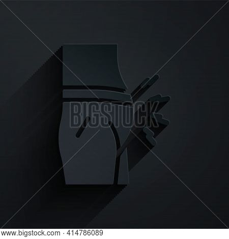 Paper Cut Abdominal Bloating Icon Isolated On Black Background. Constipation Or Diarrhea. Paper Art