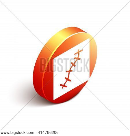 Isometric Scar With Suture Icon Isolated On White Background. Orange Circle Button. Vector