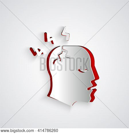 Paper Cut Man Having Headache, Migraine Icon Isolated On Grey Background. Paper Art Style. Vector