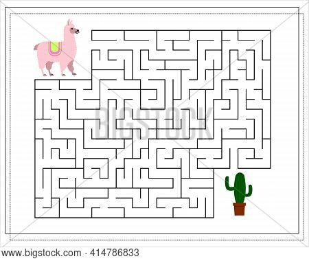 A Maze Game For Kids. Guide The Llama Through The Maze To The Cactus. Vector Isolated On A White Bac