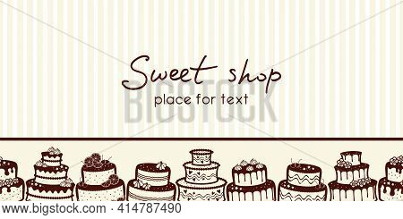 Horizontal Banner With A Border Of Different Cakes And Place For Text On A Pale Beige Striped Backgr